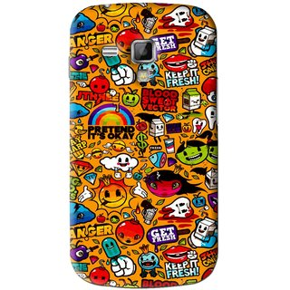 Snooky Printed Freaky Print Mobile Back Cover For Samsung Galaxy S Duos S7562 - Yellow