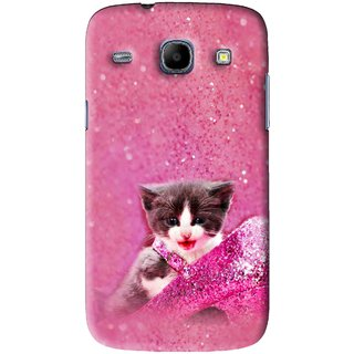 Snooky Printed Pink Cat Mobile Back Cover For Samsung Galaxy 8262 - Pink