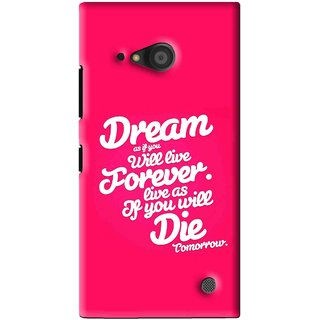 Snooky Printed Live the Life Mobile Back Cover For Microsoft Lumia 735 - Pink