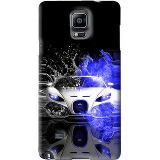 Snooky Printed Super Car Mobile Back Cover For Samsung Galaxy Note 4 - Black