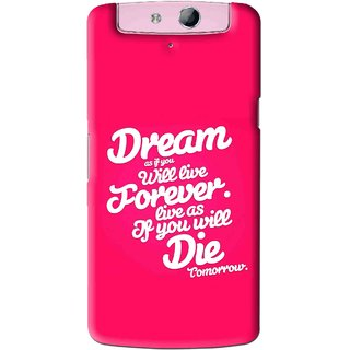 Snooky Printed Live the Life Mobile Back Cover For Oppo N1 Mini - Pink