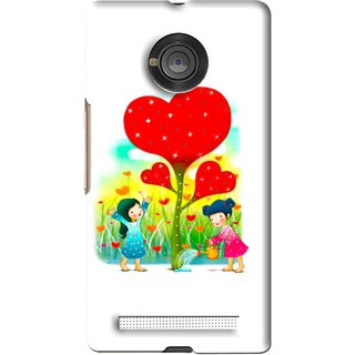 Snooky Printed Heart Plant Mobile Back Cover For Micromax Yu Yuphoria - White