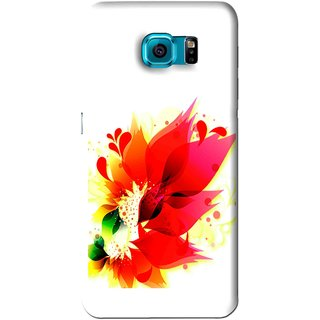 Snooky Printed Flowery Red Mobile Back Cover For Samsung Galaxy S6 Edge - White