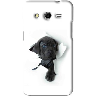 Snooky Printed Cute Dog Mobile Back Cover For Samsung Galaxy Core Prime - White
