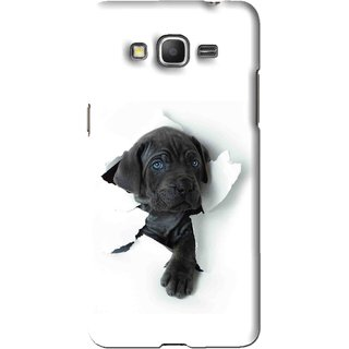 Snooky Printed Cute Dog Mobile Back Cover For Samsung Galaxy Grand Max - White