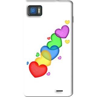 Snooky Printed Colorfull Hearts Mobile Back Cover For Lenovo K860 - White