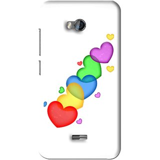 Snooky Printed Colorfull Hearts Mobile Back Cover For Micromax Bolt Q336 - White