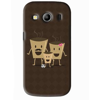 Snooky Printed Wake Up Coffee Mobile Back Cover For Samsung Galaxy Ace 4 - Brown
