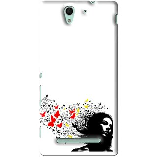 Snooky Printed Butterfly Girl Mobile Back Cover For Sony Xperia C3 - White