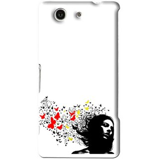 Snooky Printed Butterfly Girl Mobile Back Cover For Sony Xperia Z4 Mini - White