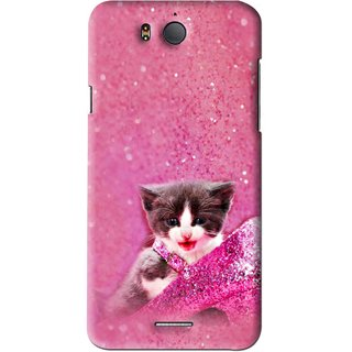 Snooky Printed Pink Cat Mobile Back Cover For Infocus M530 - Pink