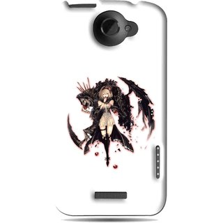 Snooky Printed Kungfu Girl Mobile Back Cover For HTC One X - White