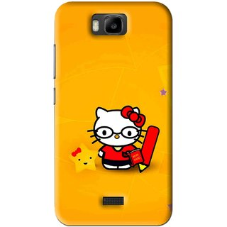 Snooky Printed Kitty Study Mobile Back Cover For Huawei Honor Bee - Orange
