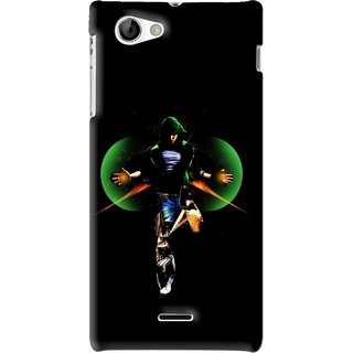 Snooky Printed Hero Mobile Back Cover For Sony Xperia J - Black