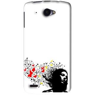 Snooky Printed Butterfly Girl Mobile Back Cover For Lenovo S920 - White