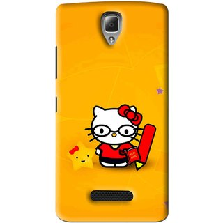 Snooky Printed Kitty Study Mobile Back Cover For Lenovo A2010 - Orange