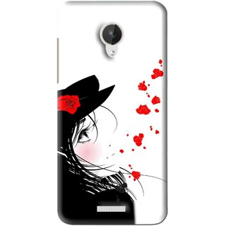 Snooky Printed Mistery Girl Mobile Back Cover For Micromax Canvas Spark Q380 - Black
