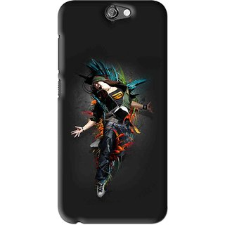 Snooky Printed Music Mania Mobile Back Cover For HTC One A9 - Black
