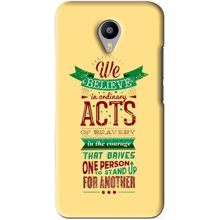 Snooky Printed Bravery Mobile Back Cover For Meizu M1 Note - Yellow