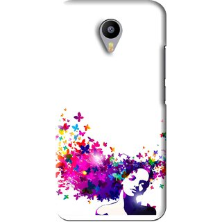 Snooky Printed Flowery Girl Mobile Back Cover For Meizu M2 Note - White