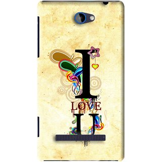 Snooky Printed Love You Mobile Back Cover For HTC 8S - Yellow
