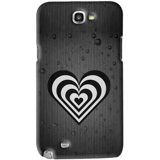 Snooky Printed Hypro Heart Mobile Back Cover For Samsung Galaxy Note 2 - Black