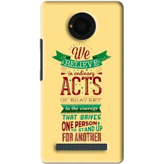 Snooky Printed Bravery Mobile Back Cover For Micromax Yu Yunique - Yellow