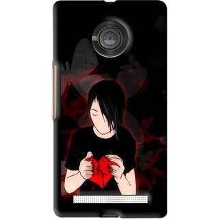 Snooky Printed Broken Heart Mobile Back Cover For Micromax Yu Yuphoria - Black