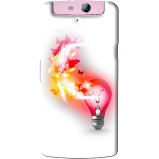 Snooky Printed Butterly Bulb Mobile Back Cover For Oppo N1 Mini - White