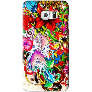 Snooky Printed Horny Flowers Mobile Back Cover For Samsung Galaxy S6 Edge Plus - Multi