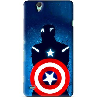 Snooky Printed America Sheild Mobile Back Cover For Sony Xperia C4 - Blue