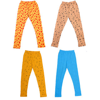IndiWeaves Girls Super Soft and Stylish Cotton Printed Churidar Legging(Pack of 4)_Size-1-3 Years_Yellow/Beige/Beige/Sky Blue_71418194243-IW-S-P4-22