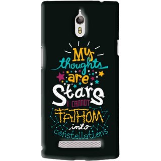 Snooky Printed Thoughts Are Stars Mobile Back Cover For Oppo Find 7 - Black