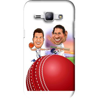 Snooky Printed Play Cricket Mobile Back Cover For Samsung Galaxy J1 - White