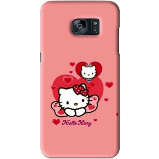 Snooky Printed Pinky Kitty Mobile Back Cover For Samsung Galaxy S7 - Pink