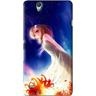 Snooky Printed Angel Girl Mobile Back Cover For Sony Xperia C4 - Blue