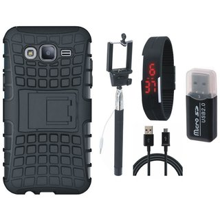 Oppo F3 Plus Shockproof Kick Stand Defender Back Cover with Memory Card Reader, Selfie Stick, Digtal Watch and USB Cable