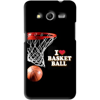 Snooky Printed Love Basket Ball Mobile Back Cover For Samsung Galaxy Core 2 - Black