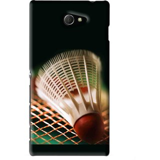 Snooky Printed Badminton Mobile Back Cover For Sony Xperia M2 - Black