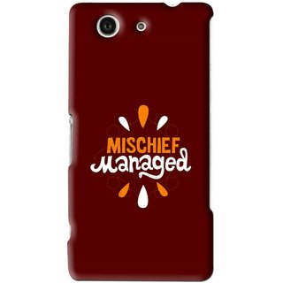 Snooky Printed Mischief Mobile Back Cover For Sony Z3 Mini - Brown