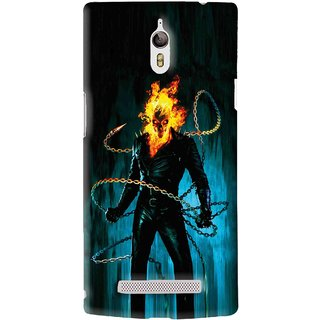 Snooky Printed Ghost Rider Mobile Back Cover For Oppo Find 7 - Blue