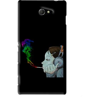 Snooky Printed Color Of Smoke Mobile Back Cover For Sony Xperia M2 - Black