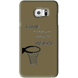 Snooky Printed Heart Games Mobile Back Cover For Samsung Galaxy S6 Edge Plus - Brown