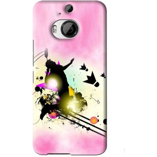 Snooky Printed Flying Man Mobile Back Cover For HTC One M9 Plus - Pink
