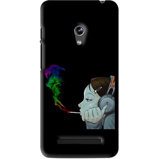Snooky Printed Color Of Smoke Mobile Back Cover For Asus Zenfone 5 - Black
