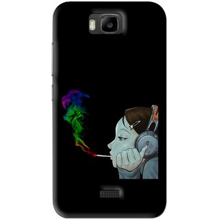 Snooky Printed Color Of Smoke Mobile Back Cover For Huawei Honor Bee - Black