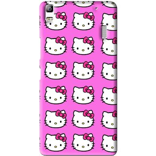 Snooky Printed Pink Kitty Mobile Back Cover For Lenovo K3 Note - Pink
