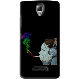 Snooky Printed Color Of Smoke Mobile Back Cover For Lenovo A2010 - Black