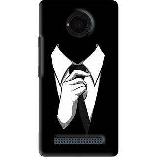 Snooky Printed White Collar Mobile Back Cover For Micromax Yu Yunique - Black