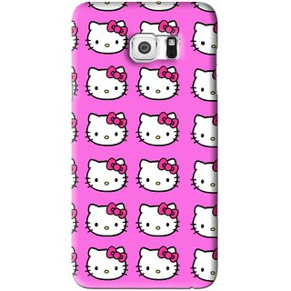 Snooky Printed Pink Kitty Mobile Back Cover For Samsung Galaxy S6 Edge Plus - Pink